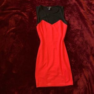 Red bodycon and mesh dress